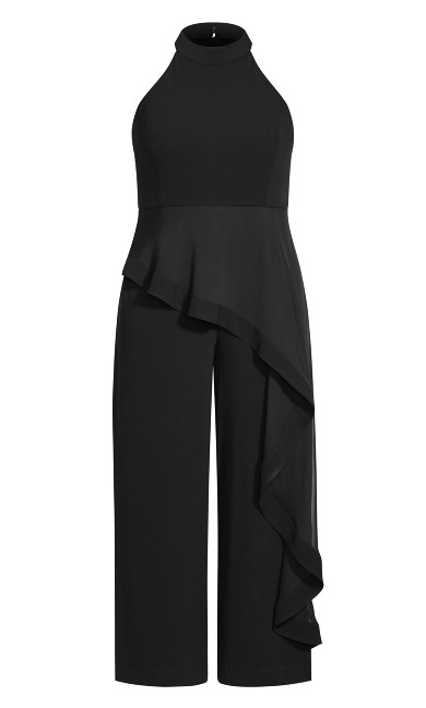 Plus Size Waterfall Jumpsuit - black