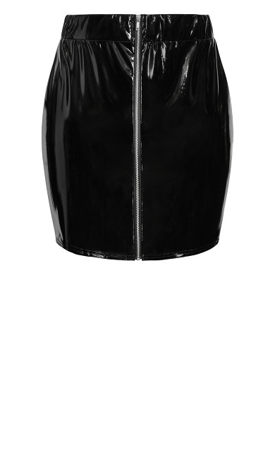 Vicious Vinyl Skirt - black