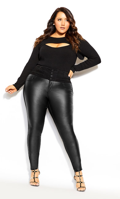 Plus Size Skylar Splice Panel Jean - black