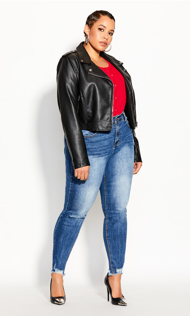 Plus Size Lust Biker Jacket - black
