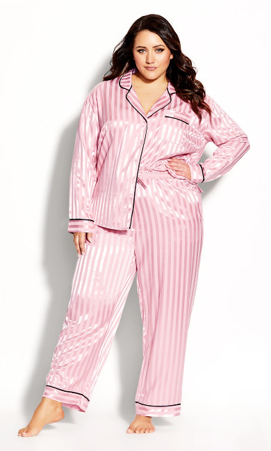 Plus Size Sophia Sleep Pant - blush stripe