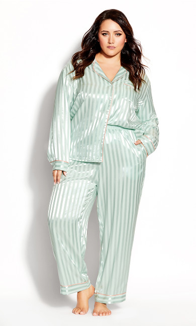 Plus Size Sophia Sleep Pant - mint stripe