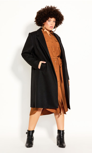 Plus Size Effortless Chic Coat - black