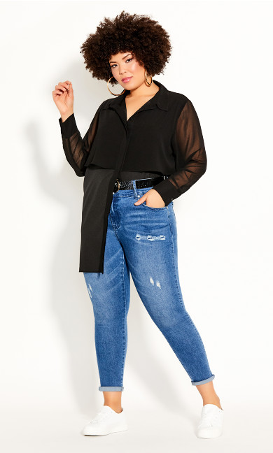 Plus Size Fly Away Shirt - black