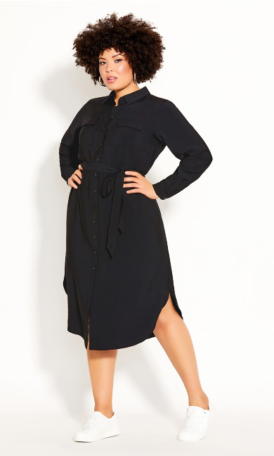 Plus Size Belted Love Dress - black