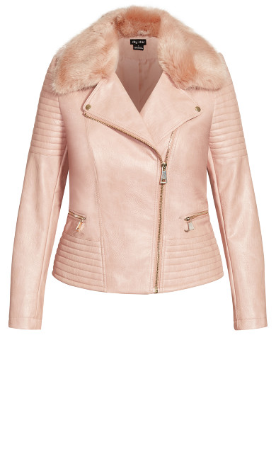 Faux Fur Biker Jacket - pink