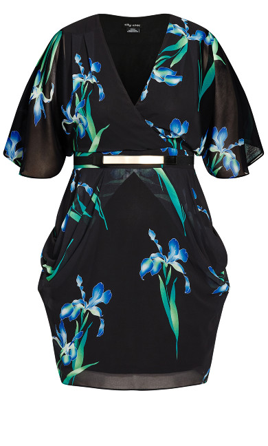 Wrap Iris Dress - black