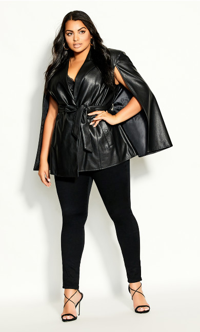 Plus Size Luxe Cape Jacket - black
