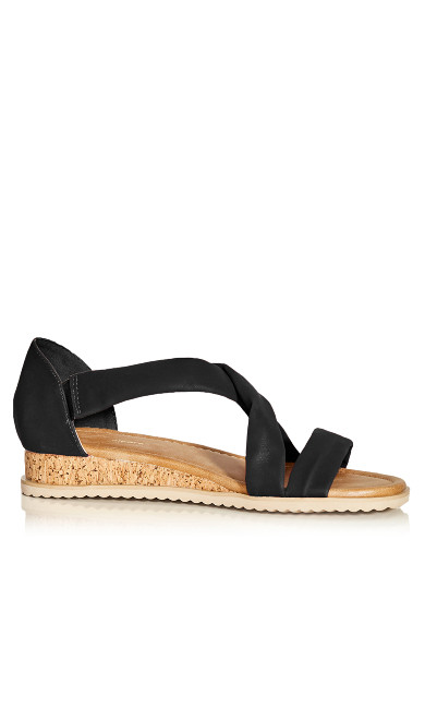 Plus Size Pam Strappy Wedge - black