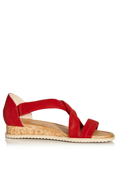 Plus Size Pam Strappy Wedge - red