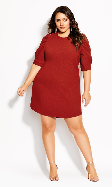 Plus Size Impluse Vibes Dress - amber