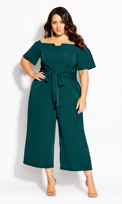 Plus Size Lush Shoulder Jumpsuit - emerald