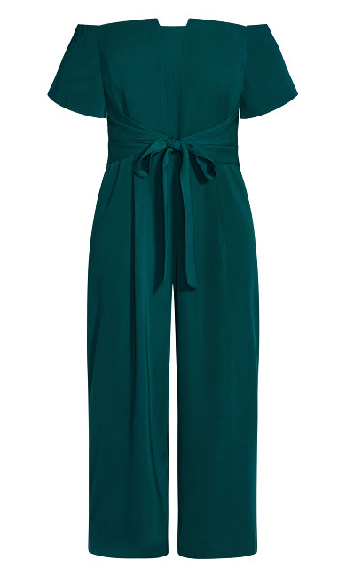 Lush Shoulder Jumpsuit - emerald