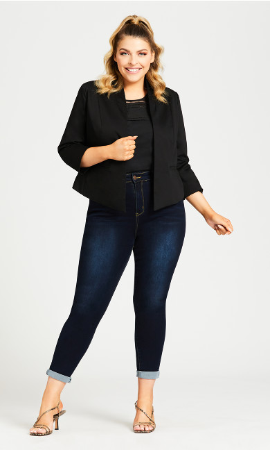 Plus Size Crop Tuxedo Jacket - black