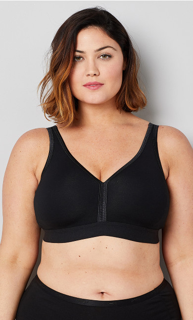 Plus Size Basic Cotton Bra - black