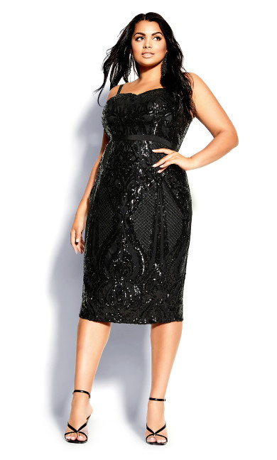 Plus Size Sequin Sofia Dress - black