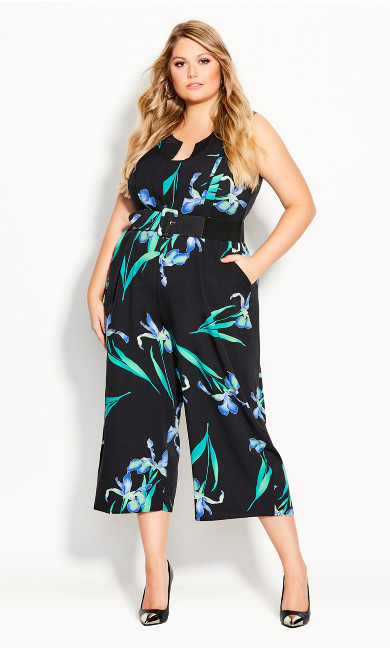 Plus Size Winter Iris Jumpsuit - black