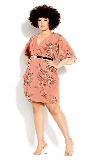 Plus Size Gypsy Floral Wrap Dress - guava