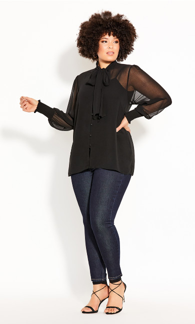 Plus Size Luxe Knot Top - black