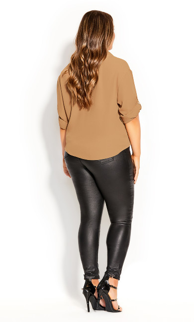 Utility Knot Front Top - tan