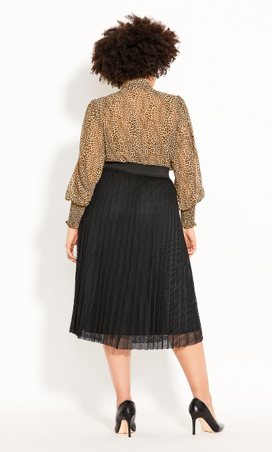 Mesh Pleat Skirt - black