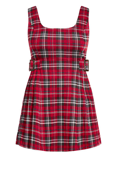 Plaid Pini Dress - red
