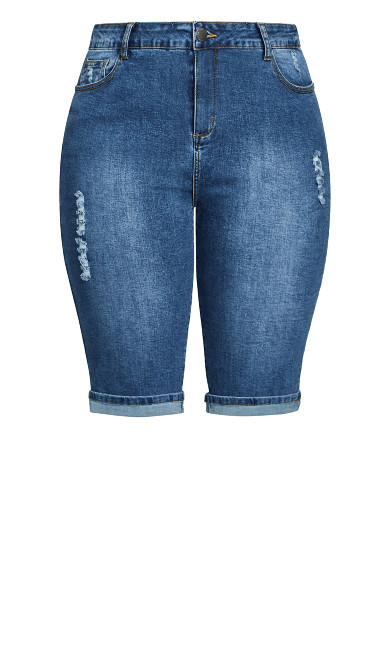 Knee Turn Up Short - mid denim