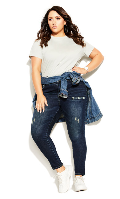 Plus Size Asha Baby Rip Jean - dark denim