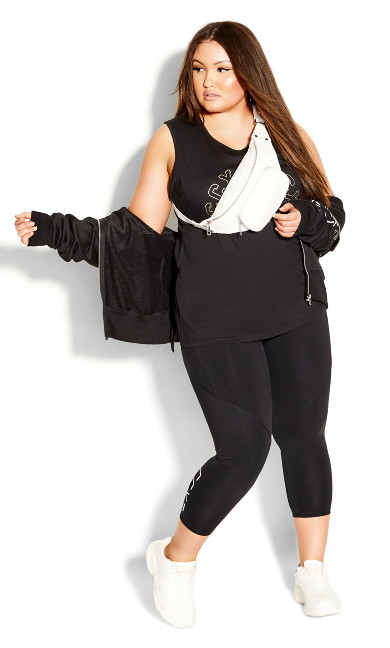 Plus Size Step Down Tank - black