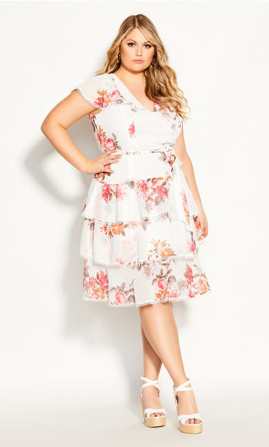 Plus Size Floral Crush Dress - ivory
