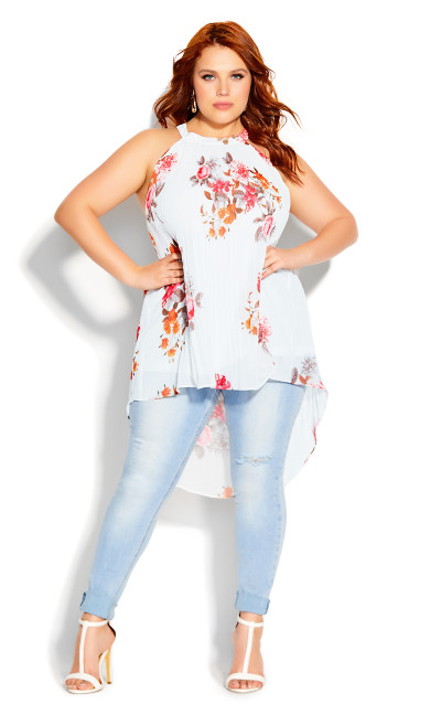 Plus Size Floral Crush Top - ivory