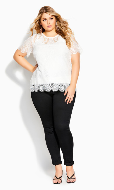 Mirrored Lace Top - ivory