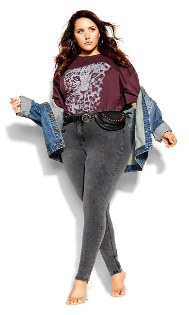 Plus Size Harley Rocker Zip Front Jean - grey