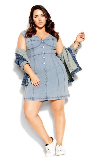Plus Size Britney Denim Dress - acid wash