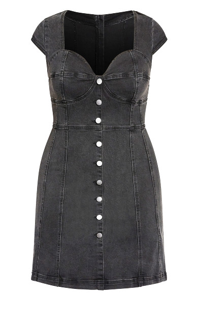 Britney Denim Dress - steel grey