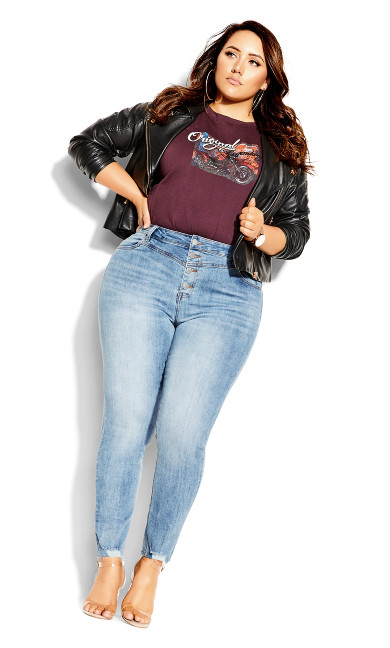 Plus Size Harley Exposed Button Jean - mid denim