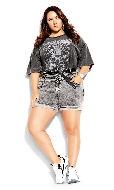 Plus Size Short Hi Waist Short - acid wash