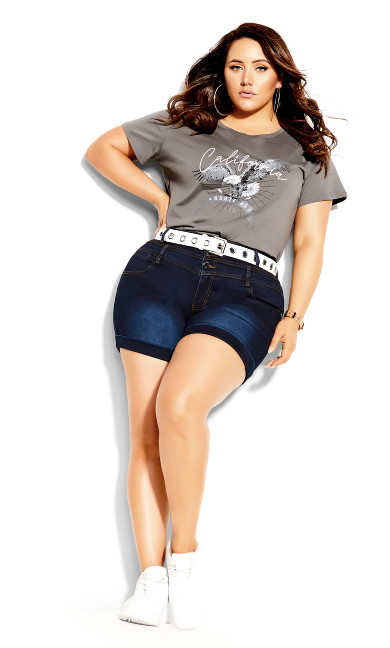 Plus Size Short Hi Waist Short - dark denim