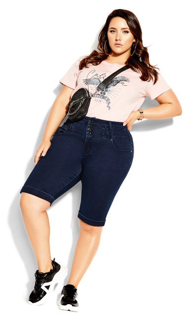 Plus Size Knee Hi Waist Short - dark denim