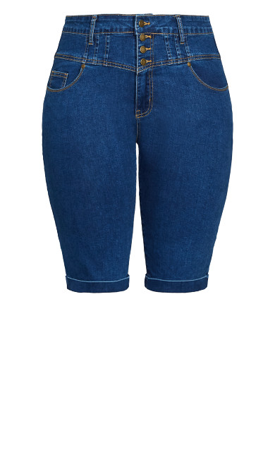 Knee Hi Waist Short - mid denim
