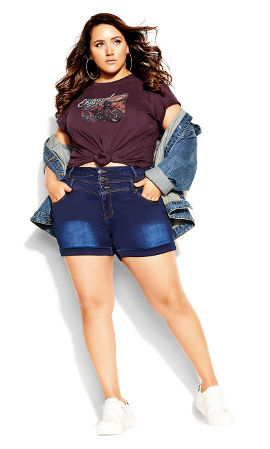 Plus Size Back It Up Tee - maroon