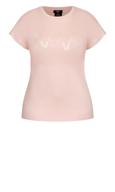 With Love Tee - ballet pink