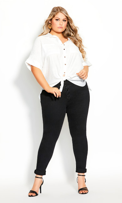 Plus Size Laid Back Shirt - ivory