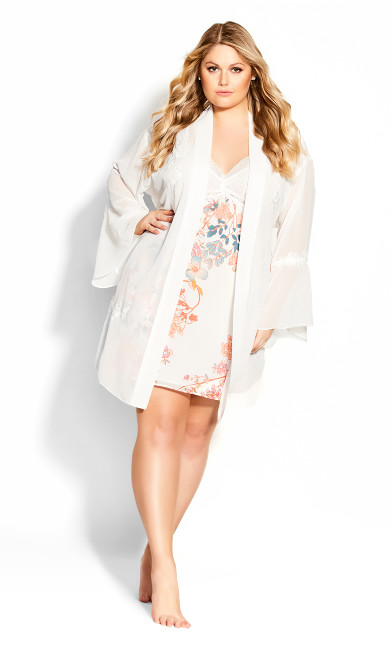 Plus Size Gabriella Embroidered Wrap - ivory