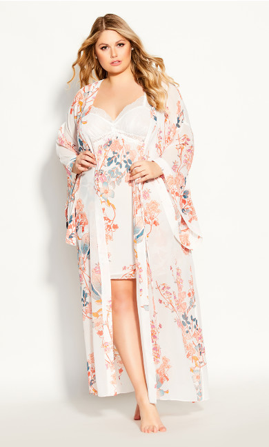 Plus Size Hannah Long Wrap - ivory