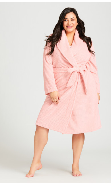 Plus Size Pink Robe - pink