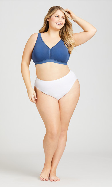 Plus Size Cotton Fashion Bra - navy