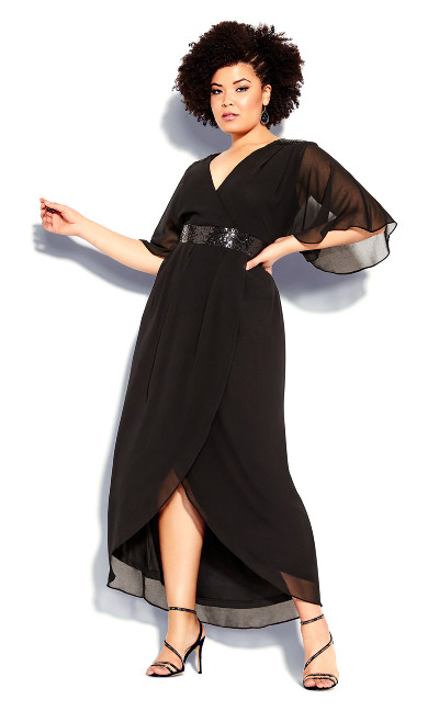 Plus Size Sequin Wrap Maxi Dress - black
