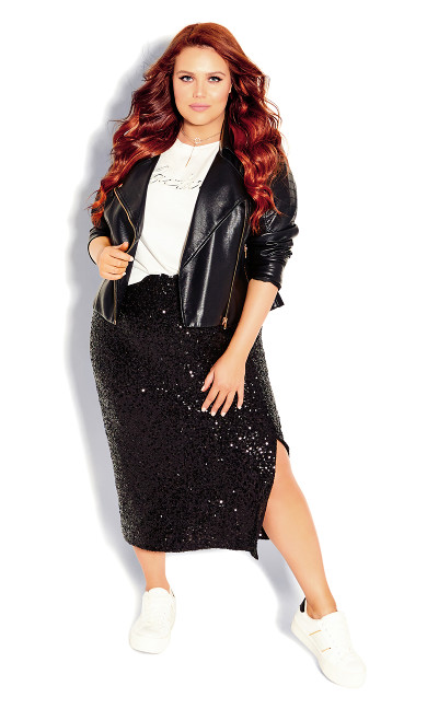 Plus Size Bronzed Skirt - black