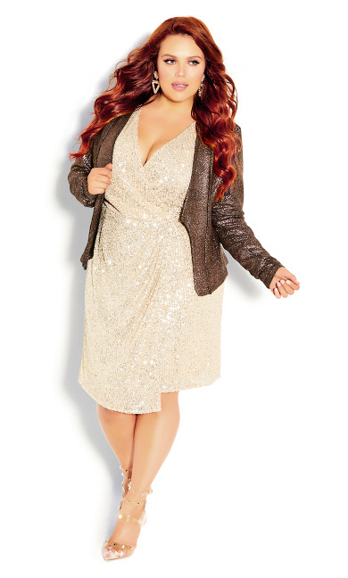 Plus Size Shining Light Jacket - bronze